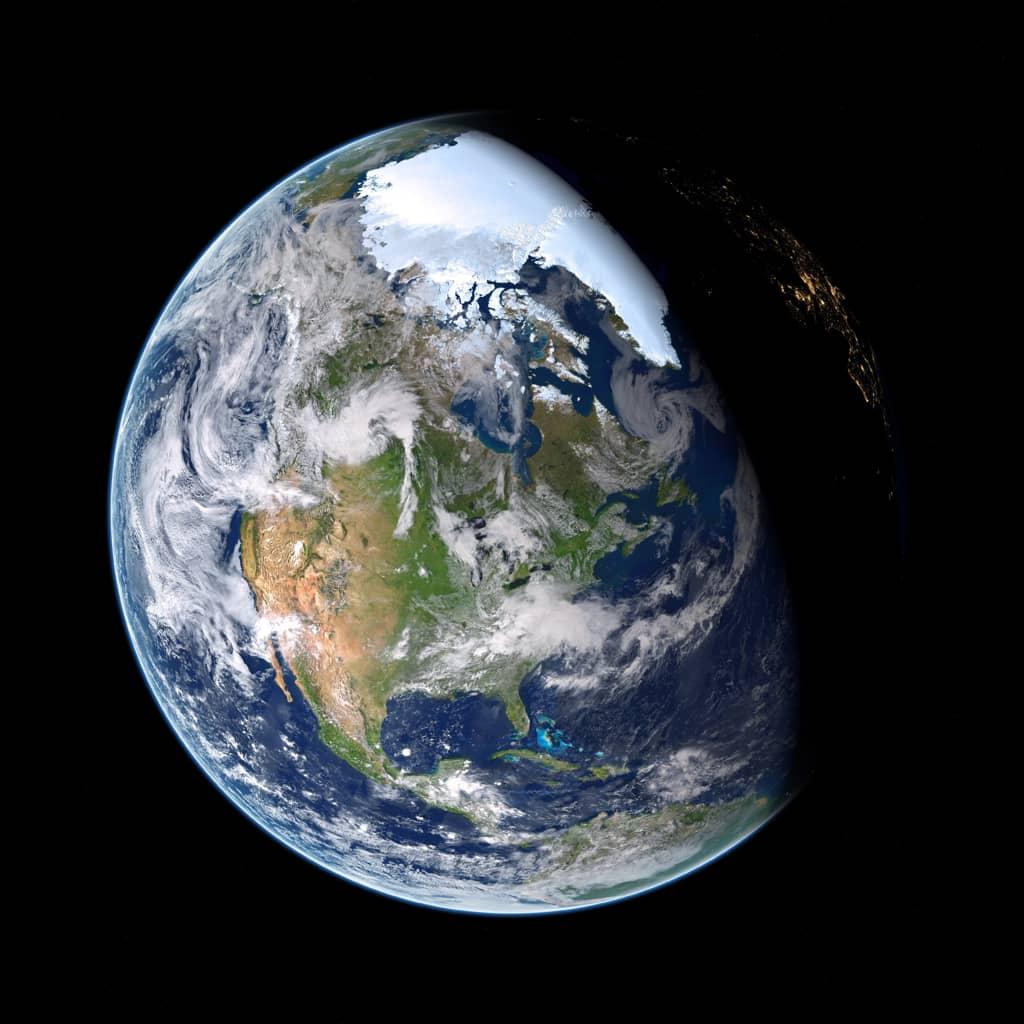 Planet Erde auf schwarzem Hintergrund